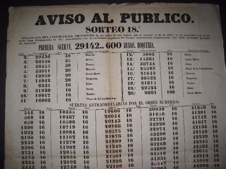 Lotería Nacional: LISTA LOTERIA - AVISO AL PUBLICO -SORTEO 18-AÑO 1865 - ORIGINAL-MIDE 49X 66 CM - VER FOTOS -(V-4246) - Foto 2 - 54263443