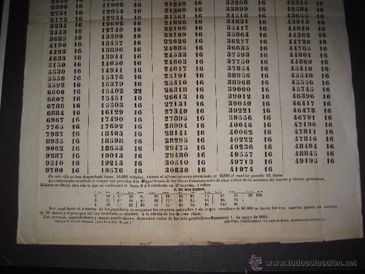 Lotería Nacional: LISTA LOTERIA - AVISO AL PUBLICO -SORTEO 18-AÑO 1865 - ORIGINAL-MIDE 49X 66 CM - VER FOTOS -(V-4246) - Foto 3 - 54263443