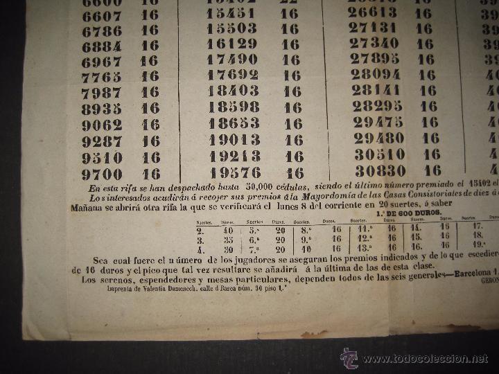Lotería Nacional: LISTA LOTERIA - AVISO AL PUBLICO -SORTEO 18-AÑO 1865 - ORIGINAL-MIDE 49X 66 CM - VER FOTOS -(V-4246) - Foto 4 - 54263443