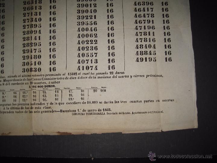 Lotería Nacional: LISTA LOTERIA - AVISO AL PUBLICO -SORTEO 18-AÑO 1865 - ORIGINAL-MIDE 49X 66 CM - VER FOTOS -(V-4246) - Foto 5 - 54263443