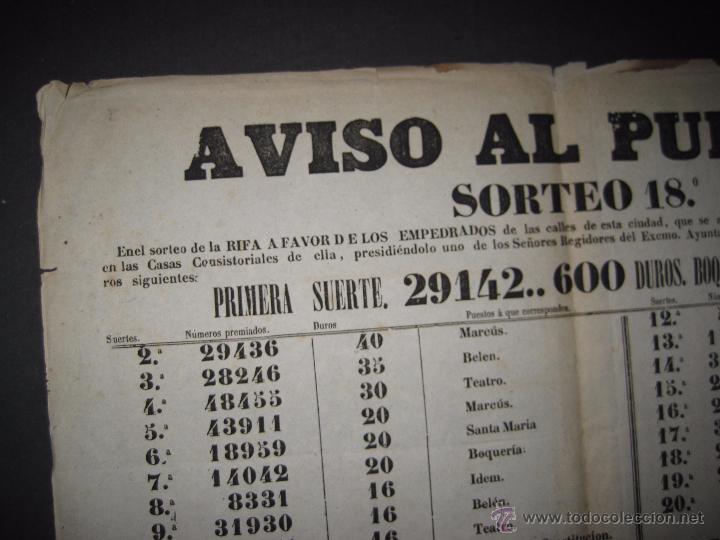 Lotería Nacional: LISTA LOTERIA - AVISO AL PUBLICO -SORTEO 18-AÑO 1865 - ORIGINAL-MIDE 49X 66 CM - VER FOTOS -(V-4246) - Foto 6 - 54263443