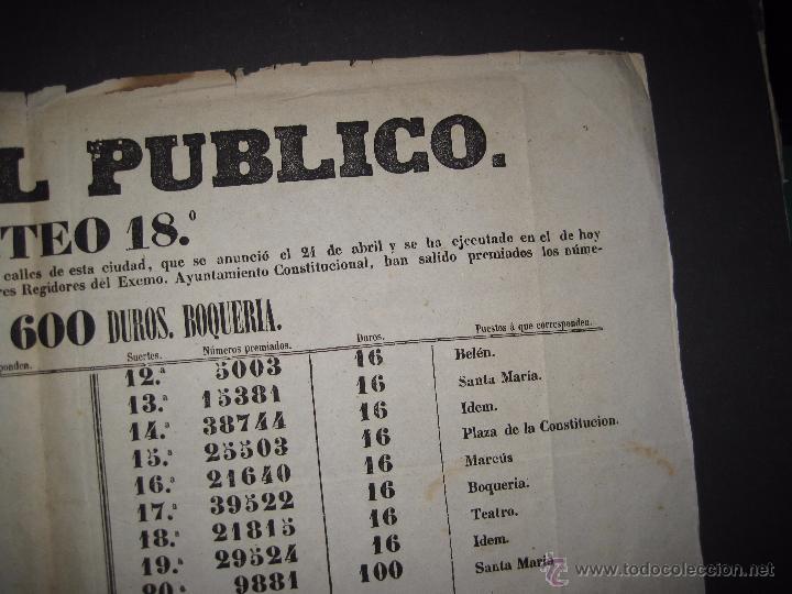 Lotería Nacional: LISTA LOTERIA - AVISO AL PUBLICO -SORTEO 18-AÑO 1865 - ORIGINAL-MIDE 49X 66 CM - VER FOTOS -(V-4246) - Foto 7 - 54263443