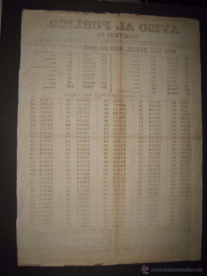 Lotería Nacional: LISTA LOTERIA - AVISO AL PUBLICO -SORTEO 18-AÑO 1865 - ORIGINAL-MIDE 49X 66 CM - VER FOTOS -(V-4246) - Foto 8 - 54263443