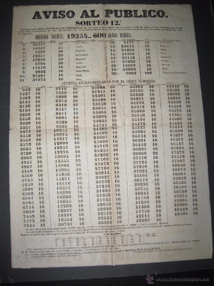 LISTA LOTERIA - AVISO AL PUBLICO -SORTEO 12-AÑO 1865 - ORIGINAL-MIDE 49X 66 CM - VER FOTOS -(V-4247) (Coleccionismo - Lotería Nacional)