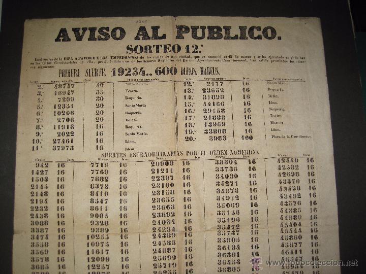 Lotería Nacional: LISTA LOTERIA - AVISO AL PUBLICO -SORTEO 12-AÑO 1865 - ORIGINAL-MIDE 49X 66 CM - VER FOTOS -(V-4247) - Foto 2 - 54263480