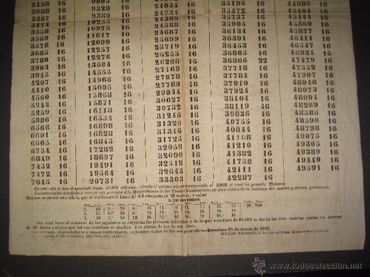 Lotería Nacional: LISTA LOTERIA - AVISO AL PUBLICO -SORTEO 12-AÑO 1865 - ORIGINAL-MIDE 49X 66 CM - VER FOTOS -(V-4247) - Foto 3 - 54263480