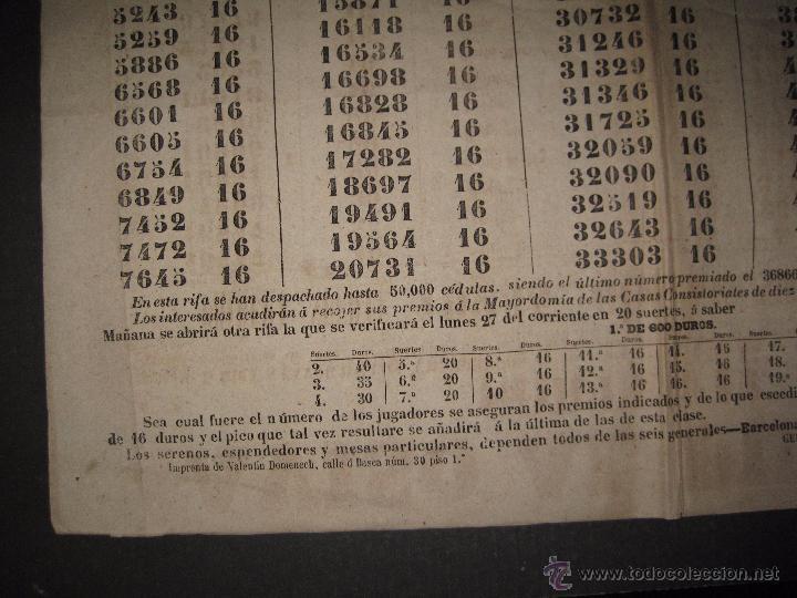 Lotería Nacional: LISTA LOTERIA - AVISO AL PUBLICO -SORTEO 12-AÑO 1865 - ORIGINAL-MIDE 49X 66 CM - VER FOTOS -(V-4247) - Foto 4 - 54263480