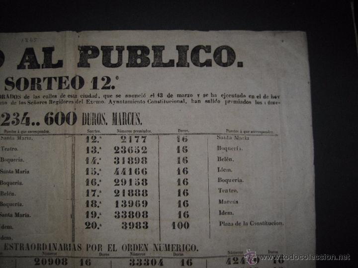 Lotería Nacional: LISTA LOTERIA - AVISO AL PUBLICO -SORTEO 12-AÑO 1865 - ORIGINAL-MIDE 49X 66 CM - VER FOTOS -(V-4247) - Foto 6 - 54263480