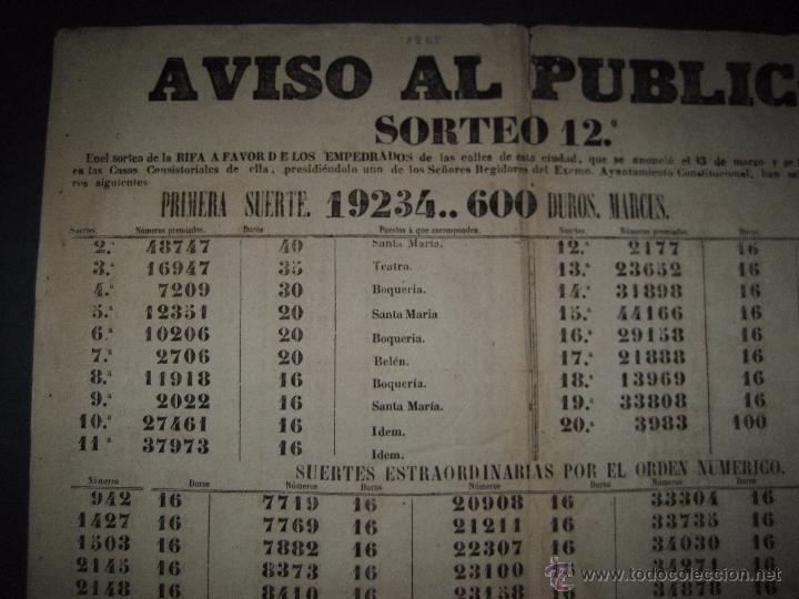 Lotería Nacional: LISTA LOTERIA - AVISO AL PUBLICO -SORTEO 12-AÑO 1865 - ORIGINAL-MIDE 49X 66 CM - VER FOTOS -(V-4247) - Foto 7 - 54263480