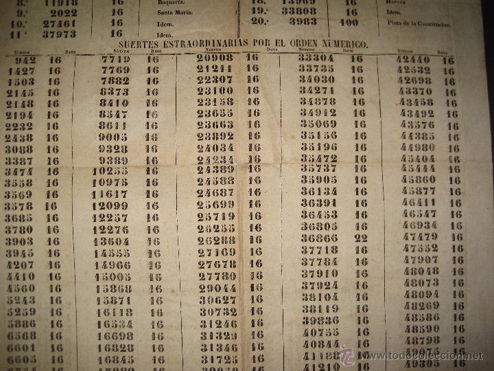 Lotería Nacional: LISTA LOTERIA - AVISO AL PUBLICO -SORTEO 12-AÑO 1865 - ORIGINAL-MIDE 49X 66 CM - VER FOTOS -(V-4247) - Foto 8 - 54263480