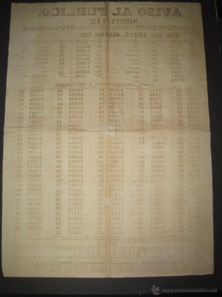Lotería Nacional: LISTA LOTERIA - AVISO AL PUBLICO -SORTEO 12-AÑO 1865 - ORIGINAL-MIDE 49X 66 CM - VER FOTOS -(V-4247) - Foto 9 - 54263480