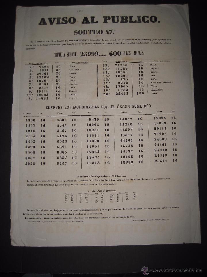 LISTA LOTERIA - AVISO AL PUBLICO -SORTEO 47 AÑO 1870 - ORIGINAL-MIDE 52X 69 CM - VER FOTOS -(V-4248) (Coleccionismo - Lotería Nacional)
