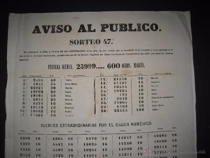 Lotería Nacional: LISTA LOTERIA - AVISO AL PUBLICO -SORTEO 47 AÑO 1870 - ORIGINAL-MIDE 52X 69 CM - VER FOTOS -(V-4248) - Foto 2 - 54263525