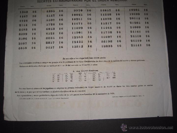 Lotería Nacional: LISTA LOTERIA - AVISO AL PUBLICO -SORTEO 47 AÑO 1870 - ORIGINAL-MIDE 52X 69 CM - VER FOTOS -(V-4248) - Foto 3 - 54263525