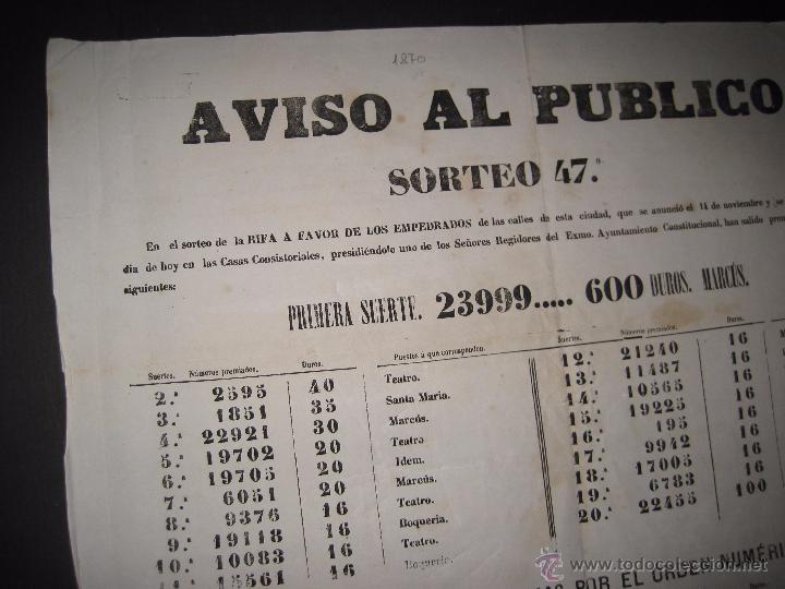 Lotería Nacional: LISTA LOTERIA - AVISO AL PUBLICO -SORTEO 47 AÑO 1870 - ORIGINAL-MIDE 52X 69 CM - VER FOTOS -(V-4248) - Foto 6 - 54263525