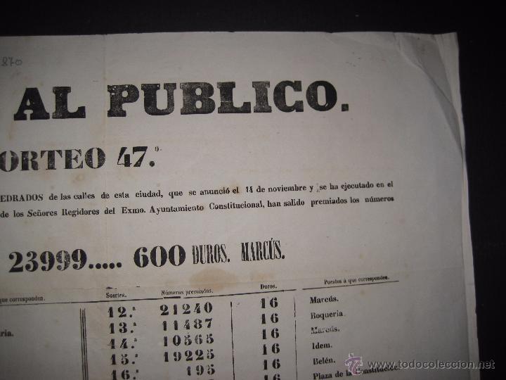 Lotería Nacional: LISTA LOTERIA - AVISO AL PUBLICO -SORTEO 47 AÑO 1870 - ORIGINAL-MIDE 52X 69 CM - VER FOTOS -(V-4248) - Foto 7 - 54263525