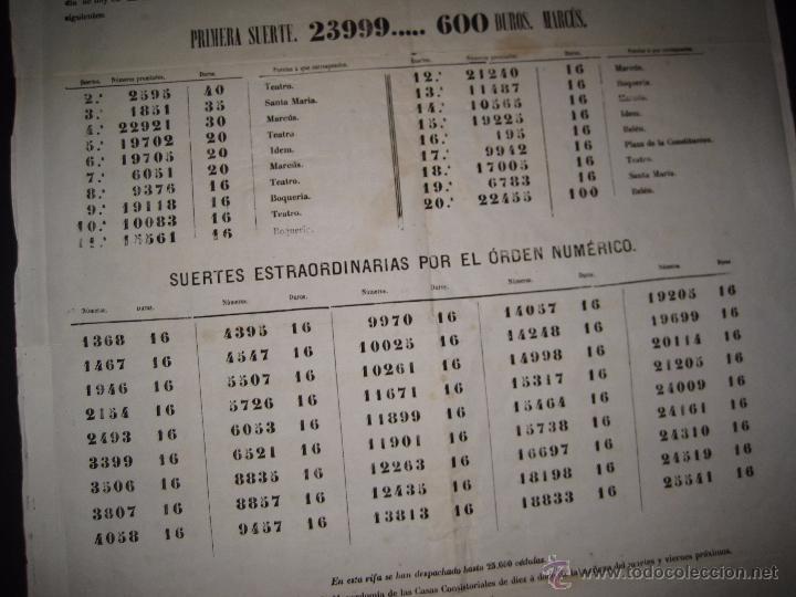 Lotería Nacional: LISTA LOTERIA - AVISO AL PUBLICO -SORTEO 47 AÑO 1870 - ORIGINAL-MIDE 52X 69 CM - VER FOTOS -(V-4248) - Foto 8 - 54263525