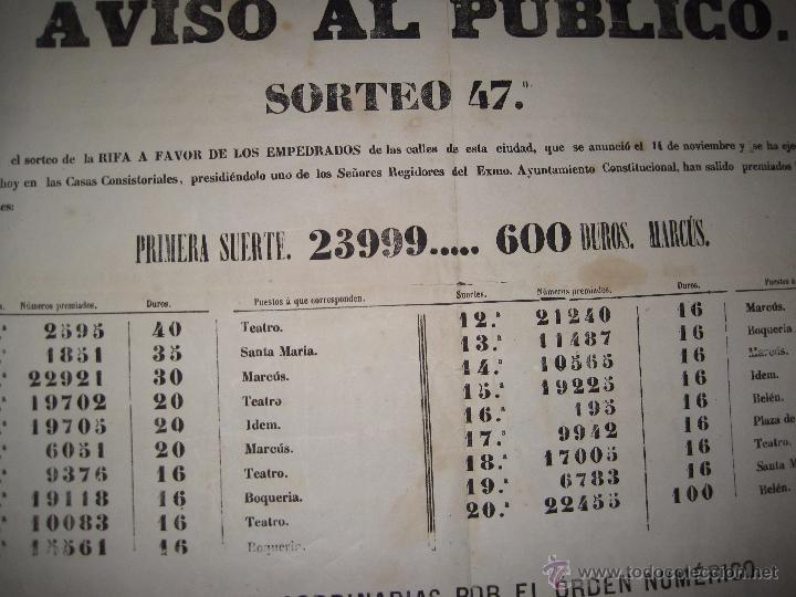 Lotería Nacional: LISTA LOTERIA - AVISO AL PUBLICO -SORTEO 47 AÑO 1870 - ORIGINAL-MIDE 52X 69 CM - VER FOTOS -(V-4248) - Foto 9 - 54263525