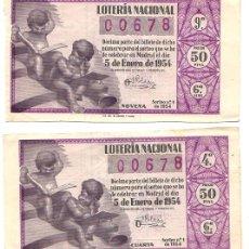 Lotaria Nacional: LOTE DE 2 BILLETES LOTERIA NACIONAL 5 DE ENERO DE 1954. Lote 54374809