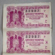 Lotaria Nacional: LOTE DE 4 DECIMOS DE LOTERIA NACIONAL. 25 DE JUNIO DE 1953. Lote 54391256