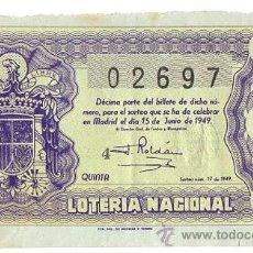 Lotaria Nacional: BILLETE LOTERIA NACIONAL 15 DE JUNIO DE 1949. QUINTA. 2ª SERIE. Lote 54656962
