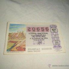 Lotería Nacional: LOTERIA NACIONAL 1984 4 DE FEBRERO TEMPLO THLAHUIZCALPANTEVUHTLI C. TOLTECA. Lote 54669642