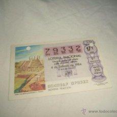 Lotería Nacional: LOTERIA NACIONAL 1984 4 DE FEBRERO TEMPLO THLAHUIZCALPANTEVUHTLI C. TOLTECA 4444. Lote 54669664