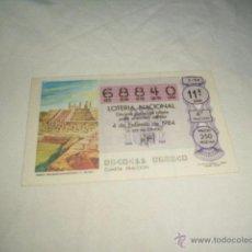 Lotería Nacional: LOTERIA NACIONAL 1984 4 DE FEBRERO TEMPLO THLAHUIZCALPANTEVUHTLI C. TOLTECA 11111. Lote 54669697