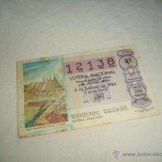 Lotería Nacional: LOTERIA NACIONAL 1984 4 DE FEBRERO TEMPLO THLAHUIZCALPANTEVUHTLI C. TOLTECA 212121. Lote 54669767
