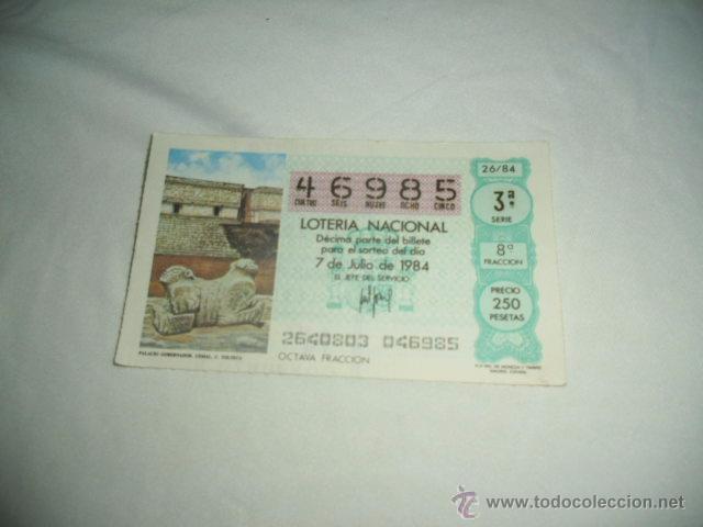 LOTERIA NACIONAL 1984 JULIO DIA 7 PALACIO GOBERNADOR UXMAL TOLTECA C (Coleccionismo - Lotería Nacional)