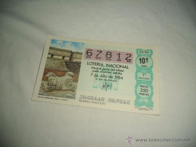 LOTERIA NACIONAL 1984 JULIO DIA 7 PALACIO GOBERNADOR UXMAL TOLTECA C 2 2 2 2 (Coleccionismo - Lotería Nacional)