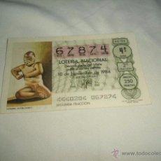 Lotería Nacional: LOTERIA NACIONAL 1984 NOVIEMBRE DIA 10 LUCHADOR CULTURA OLMECA . Lote 54680647