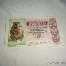 Lotería Nacional: LOTERIA NACIONAL 1984 NOVIEMBRE DIA 24 VASIJA ANTROPOMORFA CULTURA CHIBCHA . Lote 54680684