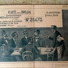 Lotería Nacional: PRECIOSA PARTICIPACION LOTERIA NAVIDAD, AÑO 1900. CAFE DE LA BOLSA, VER FOTOS. Lote 54689210