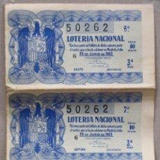 Lotaria Nacional: LOTE DE 4 DECIMOS DE LOTERIA NACIONAL. 25 DE JUNIO DE 1953. 3ª SERIE. SEXTA. SEPTIMA. OCTAVA. NOVENA. Lote 54692631
