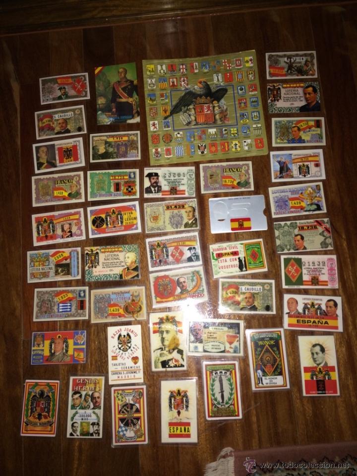 GRAN LOTE LOTERIA PARTICIPACIONES FRANCO JOSE ANTONIO DIVISION LEGION AZUL ETC PLASTIFICADAS (Coleccionismo - Lotería Nacional)
