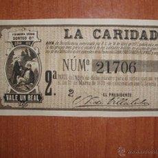 Lotería Nacional: ANTIGUO DECIMO LOTERIA,RIFA BENEFICENCIA, AUTORIZADA POR R.O, LA CARIDAD. 22 MARZO 1879. (MUY RARO). Lote 54838626