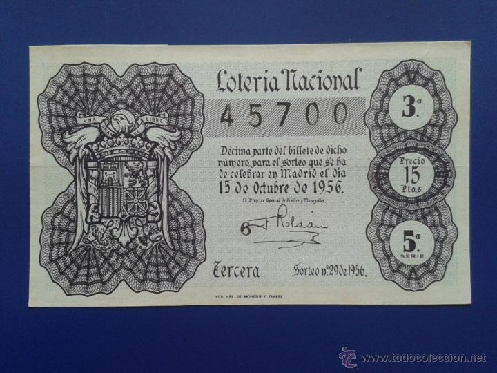 DECIMO DE LOTERIA NACIONAL AÑO 1956 SORTEO Nº 29 (Coleccionismo - Lotería Nacional)