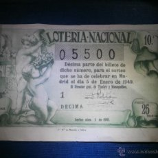 Lotería Nacional: LOTERIA NACIONAL - SORTEO Nº 1 DE 1949 - 5 DE ENERO - 1ª SERIE - 1ER DÉCIMO - 25 PTS.. Lote 55013243