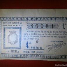 Lotería Nacional: LOTERIA NACIONAL - SORTEO Nº 31 DE 1933 - 1 DE NOVIEMBRE - 1ª FRACCIÓN - 4ª SERIE - 36081 - 3 PTS.. Lote 55303838