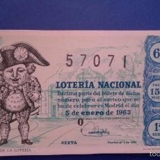 Lotería Nacional: DECIMO DE LOTERIA DE 1963 SORTEO 1. Lote 55367705