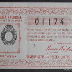 Lotería Nacional: (5785) DECIMO DE LOTERIA, SORTEO 11 DE 1924,CONSERVACION B,VER FOTOS. Lote 55381199