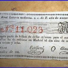 Lotería Nacional: LOTERÍA NACIONAL. AÑO 1828.. Lote 55574342