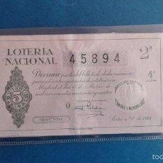 Lotería Nacional: DECIMO DE LOTERIA DE 1944 SORTEO 8. Lote 55685780