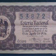 Lotería Nacional: DECIMO LOTERIA NACIONAL, SORTEO N` 24 AGOSTO 1956. Lote 56282107