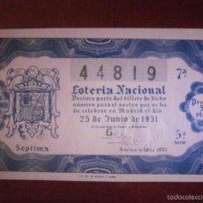 Lotería Nacional: DÉCIMO - LOTERÍA NACIONAL- AÑO 1951 - SORTEO - Nº 18 - 23 DE JUNIO - 44819 - 5 PTAS.. Lote 56675739
