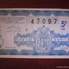 Lotería Nacional: DÉCIMO - LOTERÍA NACIONAL- AÑO 1949 - SORTEO - Nº 18 - 6 DE AGOSTO - 47097 - 5 PTAS. Lote 56675760