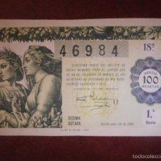 Lotería Nacional: DÉCIMO - LOTERÍA NACIONAL- AÑO 1946 - SORTEO NAVIDAD - Nº 36 - 21 DE DICIEMBRE - 46984 - 100 PTAS. Lote 56675773
