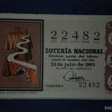 Lotería Nacional: DECIMO DE LOTERIA DE 1969 SORTEO 21. Lote 56686314