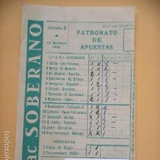 Nationale spanische Lotterie - Boleto de quiniela, resguardo, 12 octubre 1958, coñac Soberano ercom - 56807534
